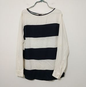 Ann Taylor Navy and White Striped Blouse Size XL